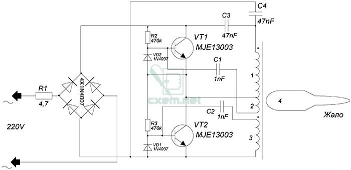 Схема паяльника на электронном трансформаторе