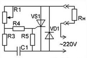 Схема регулятора мощности на маломощном тиристоре
