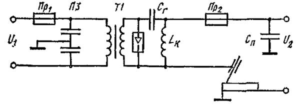 Схема осциллятора для сварки алюминия, включенного последовательно