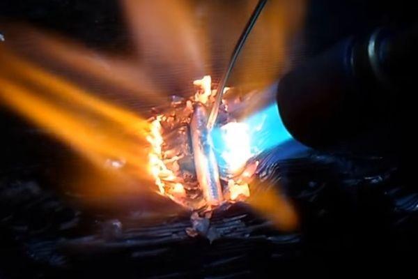 Пайка алюминиевого радиатора газовой горелкой