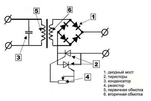 Схема сварочного аппарата с диодным мостом