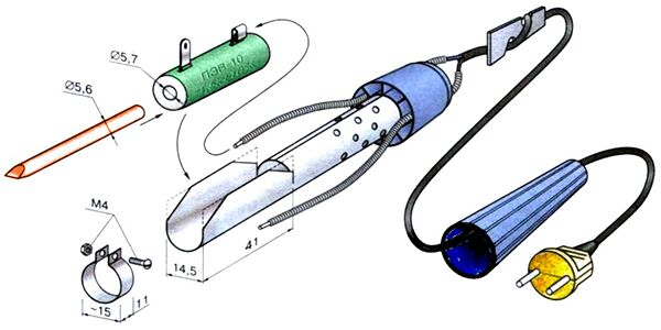 Схема сборки паяльника из резистора