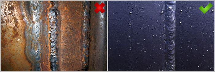 Эффект от антикоррозийного покрытия шва