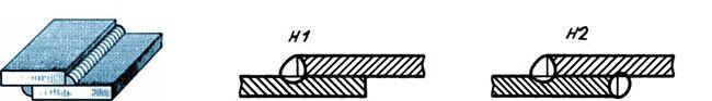 Обозначение нахлесточного шва на чертеже