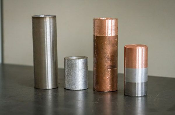 Сваренные медь (Cu), сталь (Fe) и алюминий (Al)