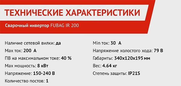 Технические характеристики сварочного инвертора Fubag IR 200