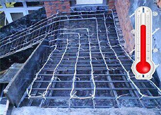 Технология прогрева бетона электродами в зимнее время